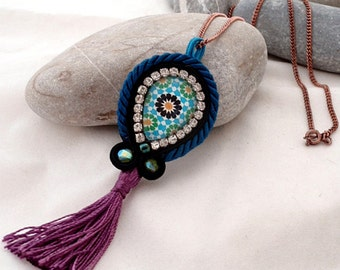purple blue boho tassel necklace | mosaic jewelry |  bronze chain necklace | gift for her | valentines | rhinestones crystal boho necklace