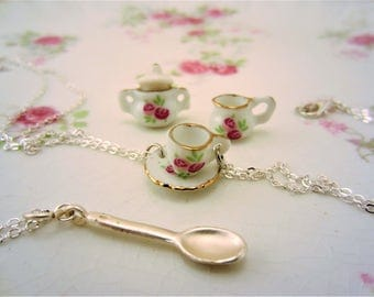 3 best friend necklaces or 2 friendship necklaces. Tea cups, tea pot, cup, saucer, spoon charm. Spot of tea best friend gift. Glass charms.