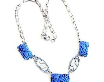 Germany Pressed Glass Blue and White Enamel Necklace