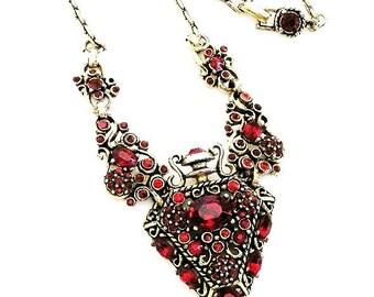 Hollycraft Rare Vintage 1950's All Red Bottle Necklace