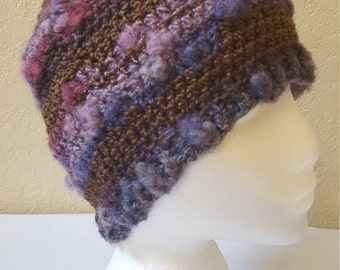 Crochet Striped Beanie/Hat/Cap /Browns and Blues With Brown Shimmer Stripes/ Adult/ Womens Crochet Skull Cap/ Handmade Winter Accessories