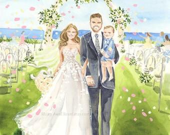 Custom Wedding Portrait, Bride Groom Portrait, Custom Wedding Illustration, Wedding Gift, Save the Date Art, , Couple Portrait by Reani