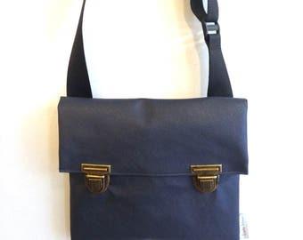 Blue Vegan Messenger Bag, Bike Bag, Cross the body bag, Medium Size.