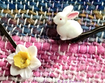 Bunny and Daffodil Bobby Pins - Boho Spring Collection