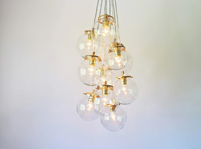 Globe Bubble Chandelier Lighting Fixture 10 Hanging Clear