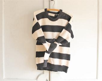vintage Diane Von Furstenberg sweater | 80s cotton sweater | striped black and white