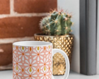 Pink Geometric Floral Coffee Mug // Ceramic Coffee Cup // Tea Cup // Kitchen Drinkware // Home Decor // Fleurette Design // Pink // Feminine