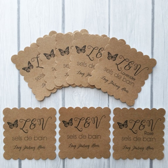 """50 2.6"""" square - scalloped edge tags, small cards, or stickers completely custom design. Good for earrings, clothing, items, or jewelry"""