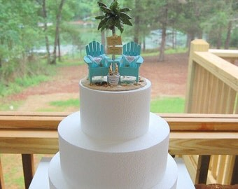 """Beach Wedding Topper BASE ATTACHED FITS 6"""" Cake Top Custom Coronas/Sign/Rustic Chairs Your Colors Handmade To Order With Palm Tree and more"""