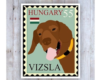 Vizsla Art, Boston Terrier Poster, Vizsla Stamp, Stamp Art, Dog Stamp Art, Vizsla Picture, Vizsla Decor