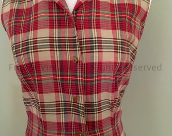 1950s 1960s ROSECREST Red Grey Black Plaid Sleeveless Fitted Top with Button Front-S