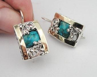 925 Turquoise Earrings, Handcrafted 9k yellow gold & 925 sterling Silver Earrings, Green stone earrings, Filigree Earrings, Gift (s e1658