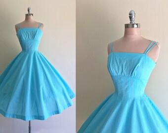 Vintage 1950s Blue Swiss Dot Cotton Full Skirt Garden Party Summer Dress XS
