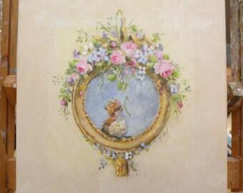 Antique rose, herbes, orné de trompe-l'oeil cadre Louis XV, Moineau bébé Couronne rose-peinture originale par Hélène Flont