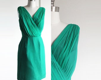 Vintage 1950s 50s Dress - Sleeveless Lilli Diamond Green Cocktail Party Dress XS - S