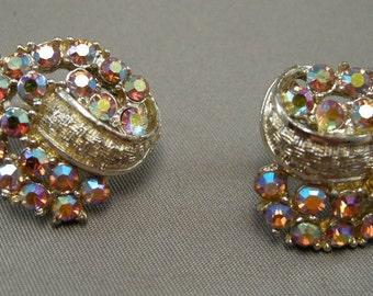 1950s Aurora Boreolis Clip Earrings, Mid Century Earrings, Colorful Earrings, Vintage AB Clip Earrings