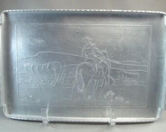 1950s Mid Century Design Arthur Armour Aluminum Tray Conestoga Wagon and Cowboy w/ Rifle on Horseback USA ONLY