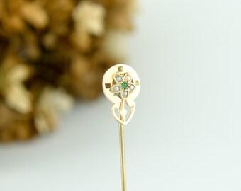 Antique 10k Gold Stockpin Flower Brooch   Green Tourmaline Seed Pearl Antique Stickpin