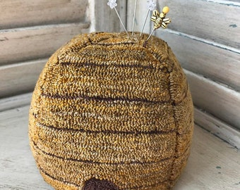Bee Skep Punch Needle Pincushion