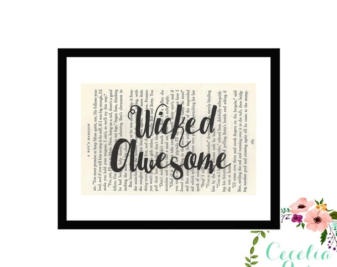 Wicked Awesome New England Boston Vintage Book Art Box Frame or Print