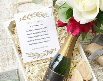 Wedding Welcome Note, Printable Wedding Welcome Bag Letter, Thank You, Simple Wreath, Itinerary, Agenda, Hotel Card - INSTANT DOWNLOAD