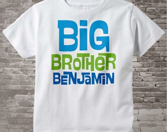 Big Brother Shirt Personalized Infant, Toddler or Youth Tee Shirt Blue and Green Text t-shirt or Onesie (06142012a)