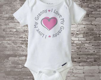 Personalized I Love My Grandmother or Granny with Darker Pink Heart Tee Shirt or Onesie (09222014f)