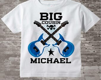 Big Cousin Guitar Rocker Shirt or Onesie, Personalized Big Cousin Shirt, Infant, Toddler or Youth sizes t-shirt 03042014c