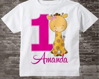 Giraffe Birthday Shirt - Personalized Girl's FIrst Birthday Giraffe Tee Shirt or Onesie, 1st Birthday Safari Theme, Zoo t-shirt 04102014k