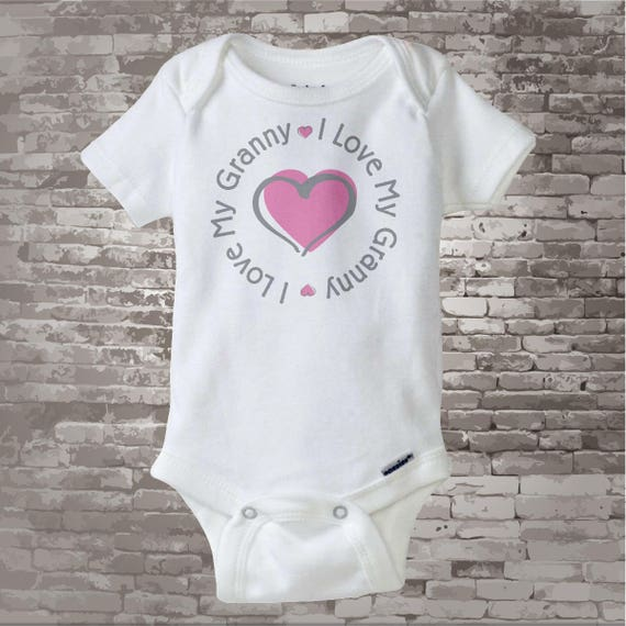 Personalized I Love My Grandma or Granny with Pink Heart Tee Shirt or Onesie (09222014f)