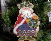Holly & Ivy Santa Ornament - Cross Stitched and Beaded Christmas Decoration - Free U.S. Shipping