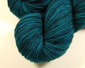 Sock Yarn, Hand Dyed - Sock Weight Superwash Merino Wool Yarn - Deep Sea Tonal - Knitting Yarn, Fingering Yarn, Blue Green Turquoise