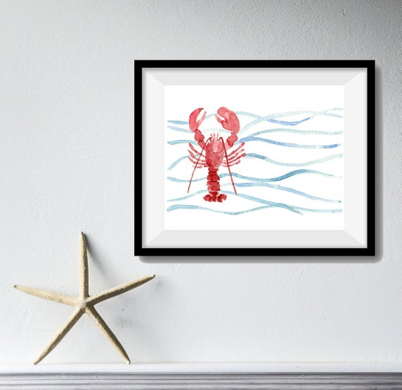 Red Lobster art print, lobser watercolor print, Lobster and waves print, nautical art, marine, sea life, coastal art, beach cottage, fishing