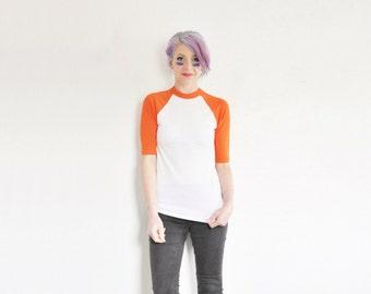 bright orange raglan baseball tee . bad news bears team uniform shirt .small .sale s a l e