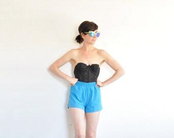 retro BLUE cuffed shorts . cerulean 1980 grapevines pant .small.medium .sale s a l e