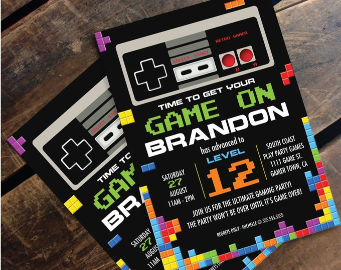 Video Game Birthday Party Invitation -NES/Tetris Inspired -Personalize Editable Text At Home - INSTANT Download D.I.Y. Printable PDF Kit