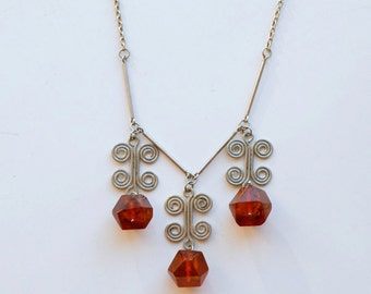 1960s genuine amber and silver Lithuanian necklace / 60s vintage Baltic amber silver swirl dangling bead necklace