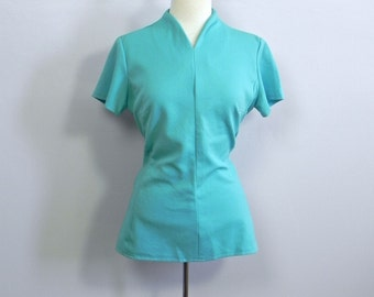 Vintage 1960s fitted Blue Top - 60s Turquoise Intergalactic Mod Top Lg