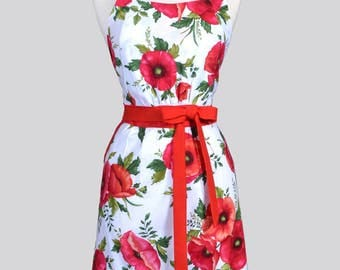 Classic Womens Full Apron - Large Red Poppy Floral Mothers Day Cute Retro Vintage Style Kitchen Apron with Pockets and Fitted Bodice