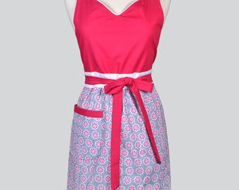 Blossom Womens Full Apron . Modern Design Gray Medallion Floral Design with Pink Mothers Day Cute Hostess or Wedding Apron Large Pocket