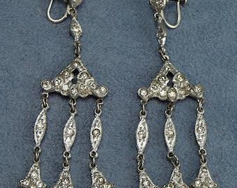 Art Deco Chandelier Earrings Rhinestones in Pot Metal Drop Dangle Earrings