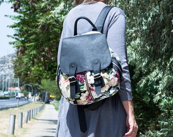 Backpack in floral canvas and black leather, canvas rucksack knapsack everyday flower back bag women - Artemis backpack