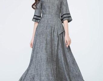 Grey dress, linen dress, spring dress, prom dress, party dress, evening dress, boho dress, women's dresses, maxi dress, custom made 1698