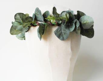 Boho flower crown - eucalyptus crown - leaf crown - rustic wedding crown - boho leaf crown - circlet - hair wreath - woodland accessories