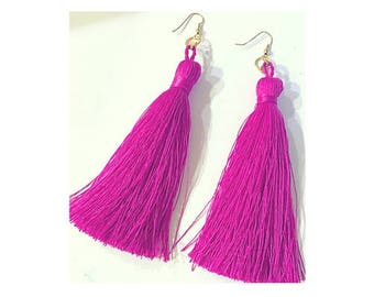 Hot Pink Fuchsia Tassel Earrings Gold Statement Jewelry/Summer