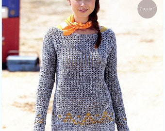 Americana DK Sweater - Sirdar Crochet Pattern 7030 - Women Larger Sizes Included