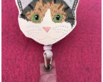 Cat Retractable Badge Reel with Alligator Clip