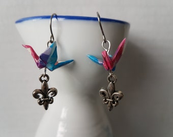 Origami earrings pink purple blue pixel paper crane with silver charms eco-friendly jewelry