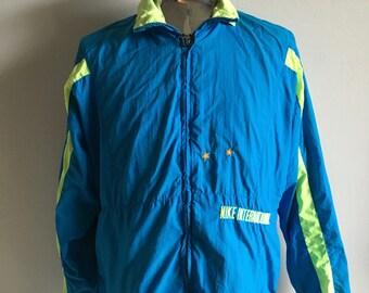 Vintage Men's 90's Nike Jacket, Nylon, Lined, Turquoise, Neon Green, Windbreaker (XL)