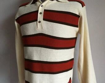 Vintage Men's 70's Striped Sweater, Cream, Orange, Brown, Acrylic by Montgomery Ward (M)